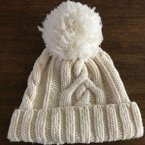 Hand knit cream Jcrew beanie